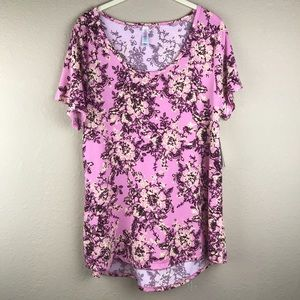 NWT Lularoe Pink Floral High/low Classic-T; size L